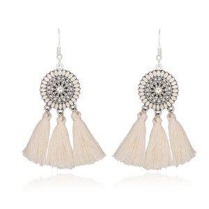 3/$20 New White & Silver Tassel Dangle Earrings
